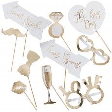 Gold Wedding Photo Props Pack of 10