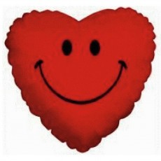 Valentine's Day Red Smiley Heart Foil Balloon