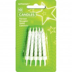 White Glitter  Candles