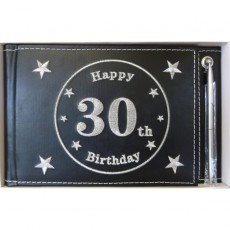 30th Birthday Black with Silver Pen Keepsake Book