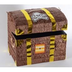 Brown Pirate's Treasure Chest Pinata 33cm x 28cm x 23cm