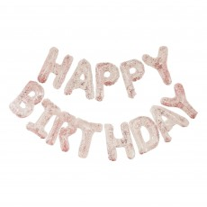 Happy Birthday Mix It Up Clear Confetti Filled Balloons Banner