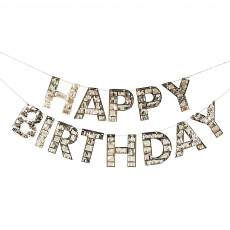 Happy Birthday Gold Fringe Bunting Banner