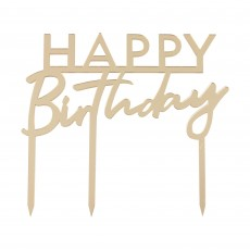 Happy Birthday Party Supplies - Cake Topper Acrylic Gold