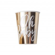 Gold Oh Baby! Paper Cups 266ml Pack of 8