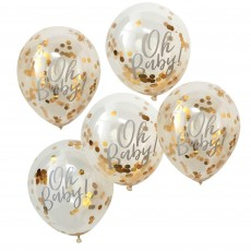 Teardrop Oh Baby! Gold Confetti Latex Balloons 30cm Pack of 5