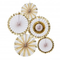 Gold & White Oh Baby! Fan Hanging Decorations Pack of 5