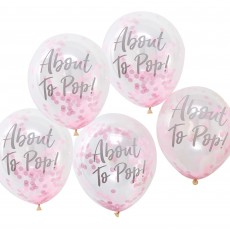 Teardrop Oh Baby! Pink Confetti About to Pop! Latex Balloons 30cm Pack of 5