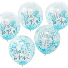 Teardrop Oh Baby! Blue Confetti About to Pop! Latex Balloons 30cm Pack of 5