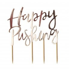 Gold Oh Baby! Happy Pushing Cake Toppers Pack of 2