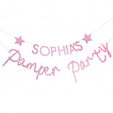 Pamper Club Pink Glitter Customisable Banner