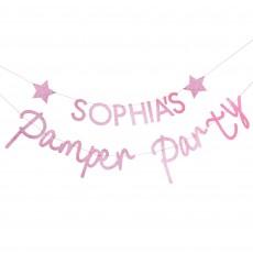 Pink Glitter Pamper Club Customisable Banner 2.5m
