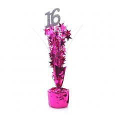 16th Birthday Silver & Cerise Number & Stars Centrepiece
