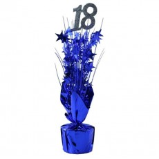 18th Birthday Silver & Blue Number & Stars Centrepiece