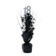18th Birthday Silver & Black Stars Centrepiece