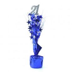 21st Birthday Silver & Blue Stars Centrepiece