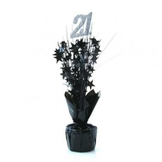 21st Birthday Silver & Black Stars Centrepiece