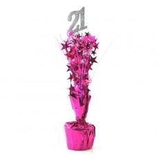 21st Birthday Silver & Cerise Stars Centrepiece