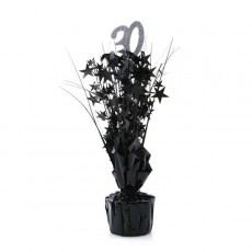 30th Birthday Silver & Black Stars Centrepiece