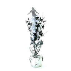 Soccer Silver, Black & White Player & Stars Centrepiece