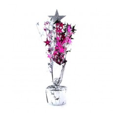 16th Birthday Silver, Black & Cerise Stars Centrepiece