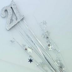 21st Birthday Silver Number & Stars Foam Spray Spangle