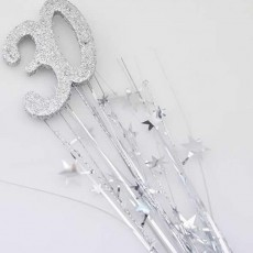 30th Birthday Silver Number & Stars Foam Spray Spangle