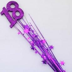 18th Birthday Purple Number & Stars Glittered Foam Spray Spangle