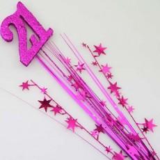 21st Birthday Cerise Number & Stars Glittered Foam Spray Spangle