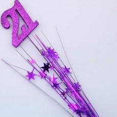 21st Birthday Purple Number & Stars Foam Spray Spangle