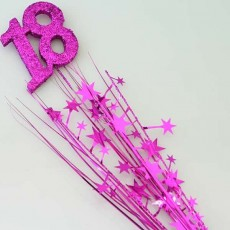18th Birthday Cerise Number & Stars Glittered Foam Spray Spangle