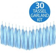 Blue Tissue Paper Tassel Garland