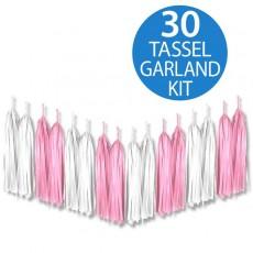 Pink Tassel Tissue Paper Garland 2m