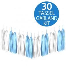 Blue & White Tissue Paper Tassel Garland 2m