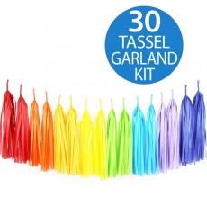 Rainbow Tissue Tassel Paper Garland