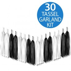 Black & White Multi Colour Tissue Paper Tassel Garland 2m