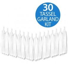 White Tissue Paper Tassel Garland 2m