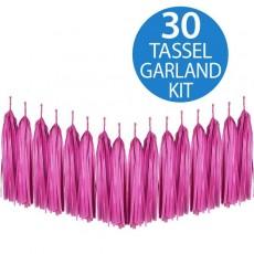 Hot Pink / Magenta Tissue Paper Tassel Garland 2m