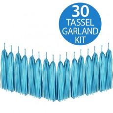 Blue Turquoise Tissue Paper Tassel Garland