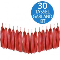 Red Tissue Paper Tassel Garland