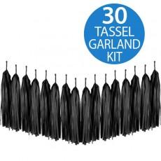 Black Tissue Paper Tassel Garland 2m