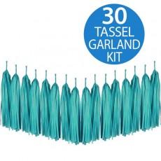 Green Teal Tissue Paper Tassel Garland