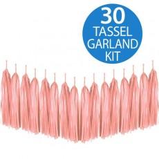 Pink Peach Tassel Tissue Paper Garland