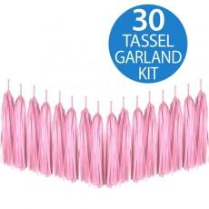 Pale Pink Tassel Tissue Paper Garland 2m