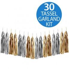 Multi Colour Gold & Silver Metallic Foil Tassel Garland