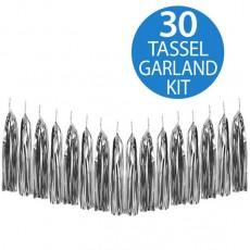 Metallic Silver Metallic Foil Tassel Garland 2m