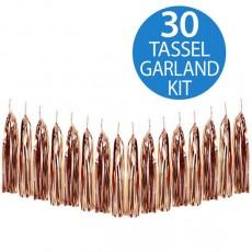 Metallic Rose Gold Tassel Garland 2m
