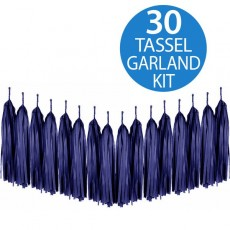 Blue Dark Navy Tissue Paper Tassel Garland