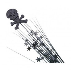 Pirate's Treasure Black Skull & Cross Bones & Stars Glittered Foam Spray Spangle