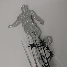 Soccer Silver & Black Player Glittered Foam Spray Spangle